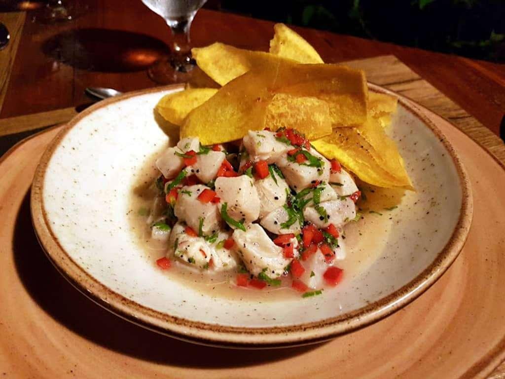 Ceviche tico en el restaurante Tulemer, Quepos, Costa Rica