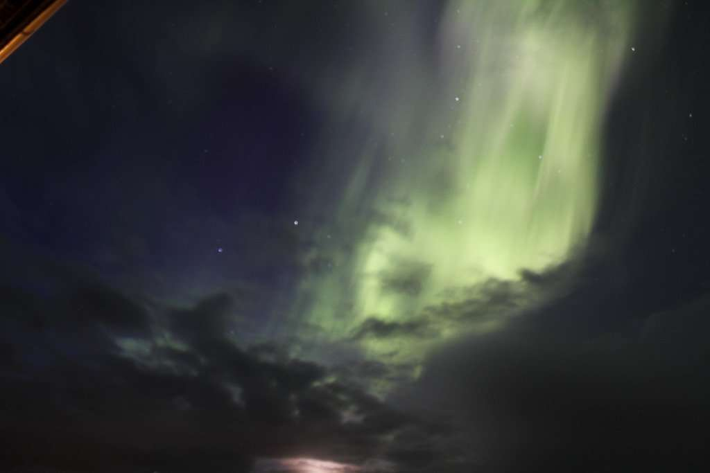 Otra foto de la aurora boreal en el norte de Islandia