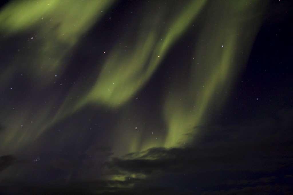 Auroras boreales en Islandia en verano