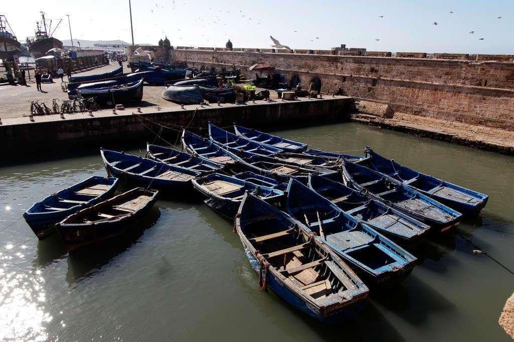 Barcas amarradas en el puerto pesquero de Essaouira