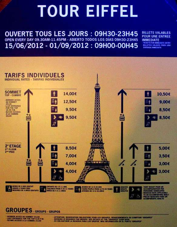 Tarifas Torre Eiffel