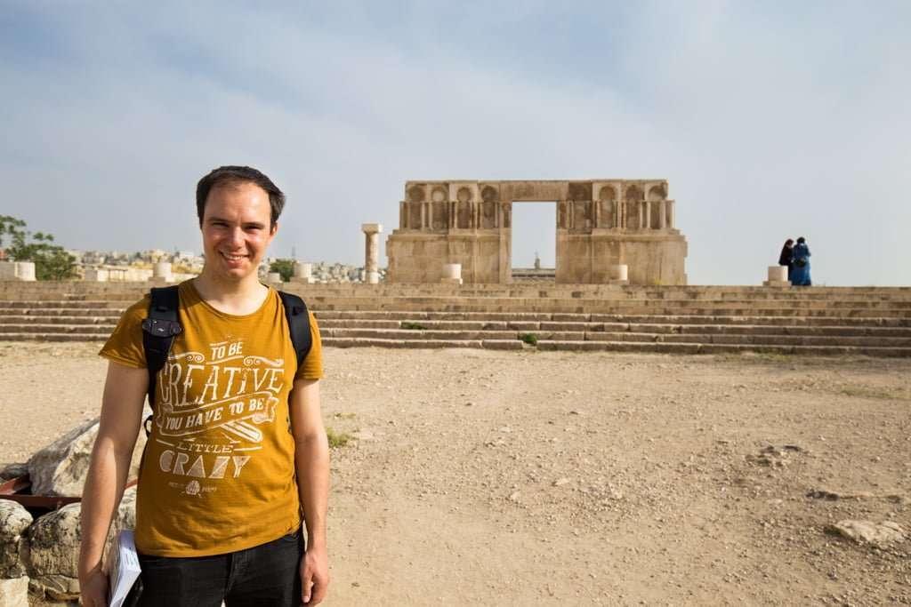 Alberto en el Palacio Omeya de la Ciudadela de Amman