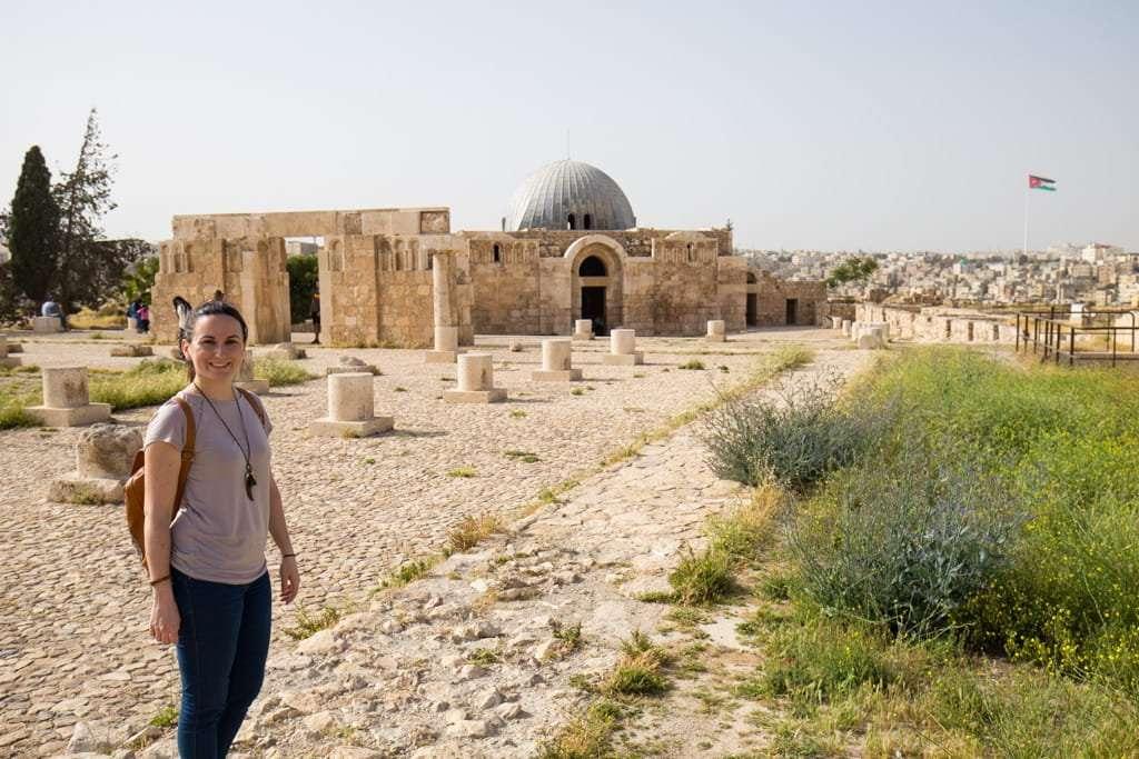 Lena en el Palacio Omeya de la Ciudadela de Amman