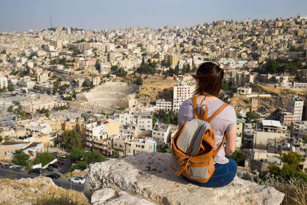Vistas Teatro Romano desde la Ciudadela de Amman, Jordania