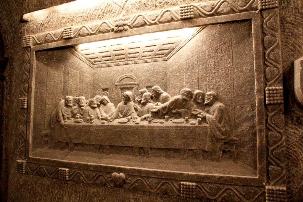 Cuadro de la última cena en la Capilla de Santa Kinga (minas de sal de Wieliczka