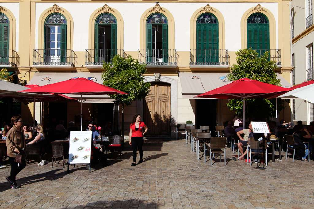 La terraza del restaurante la Plaza de Málaga