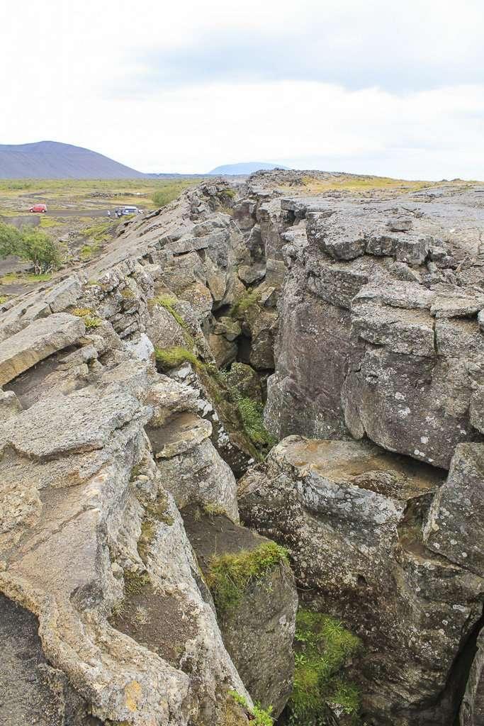 Grietas en el suelo cerca Mývatn