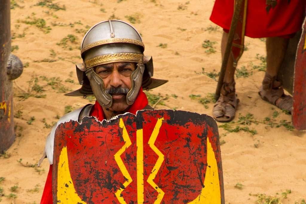 Detalle de un legionario romano en el circo romano de Jerash