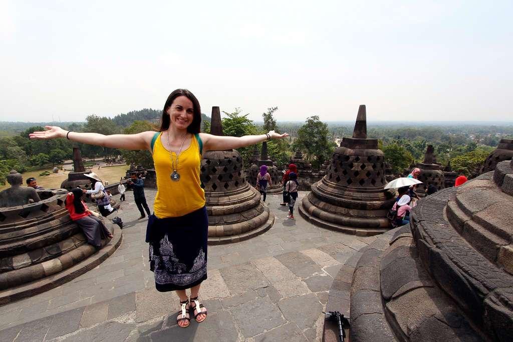 En lo alto de Borobudur