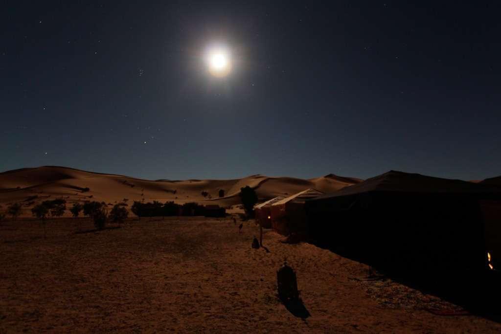 El campamento del desierto por la noche