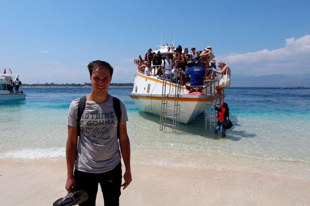 Desembarcando del fastboat en Gili Trawangan