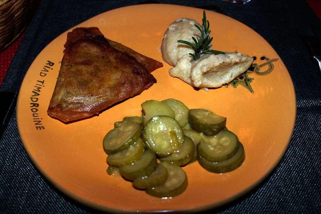 Primer plato de la cena en el riad Timadrouine