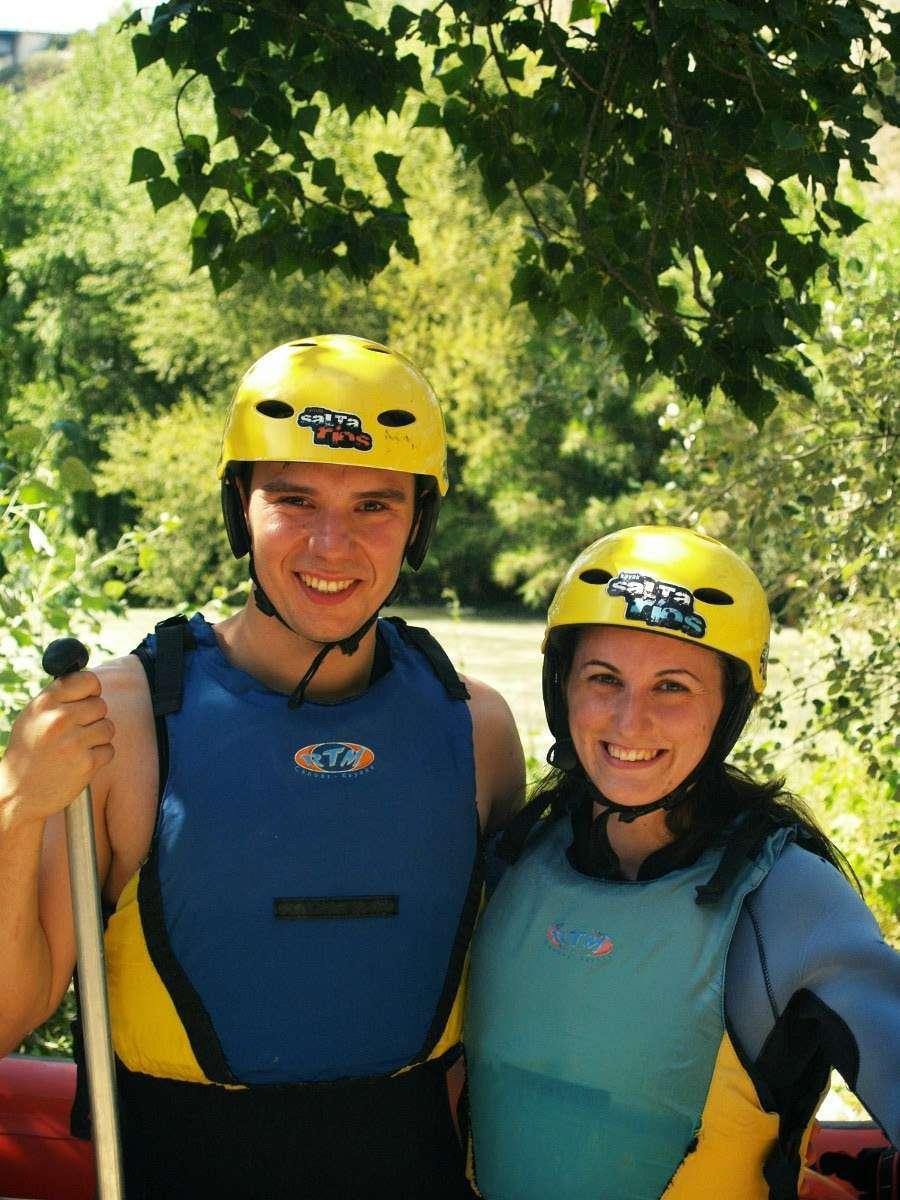 Momentos antes de empezar el rafting en el río Genil