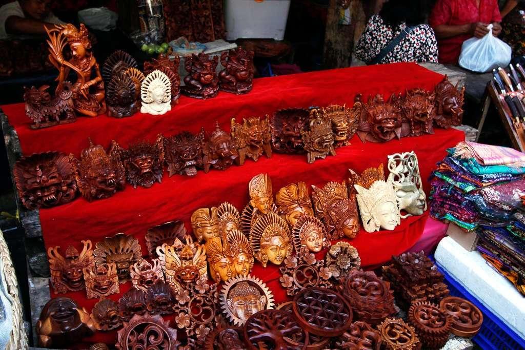 Máscaras en el Mercado de Ubud