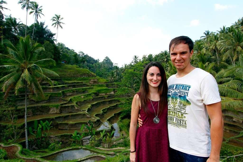 Alberto y Lena en las terrazas de Tegalalan
