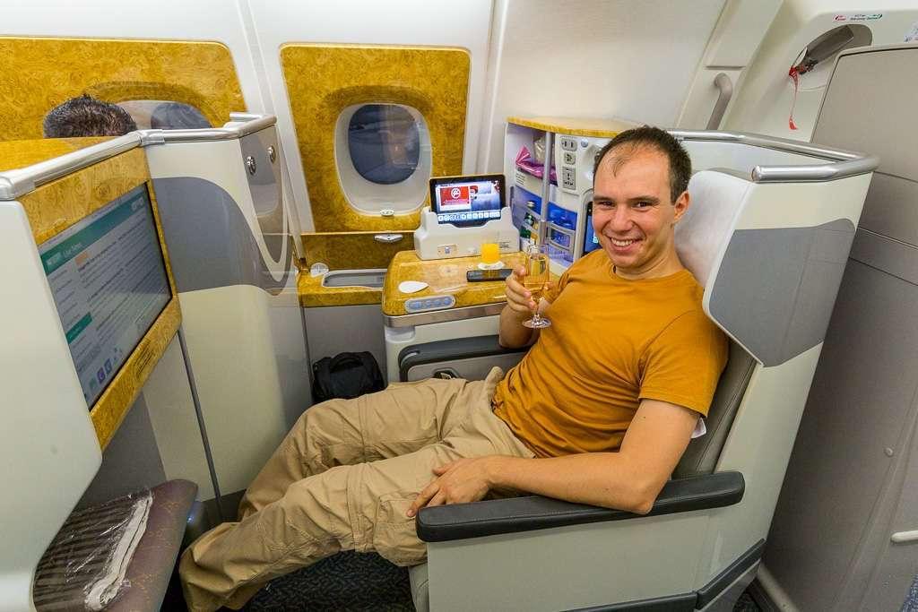 Asiento clase business de Emirates, vuelo Dubái - Ciudad del Cabo