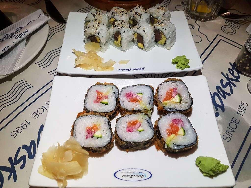 Sushi en el restaurante Ocean Basket de St Lucia, Sudáfrica