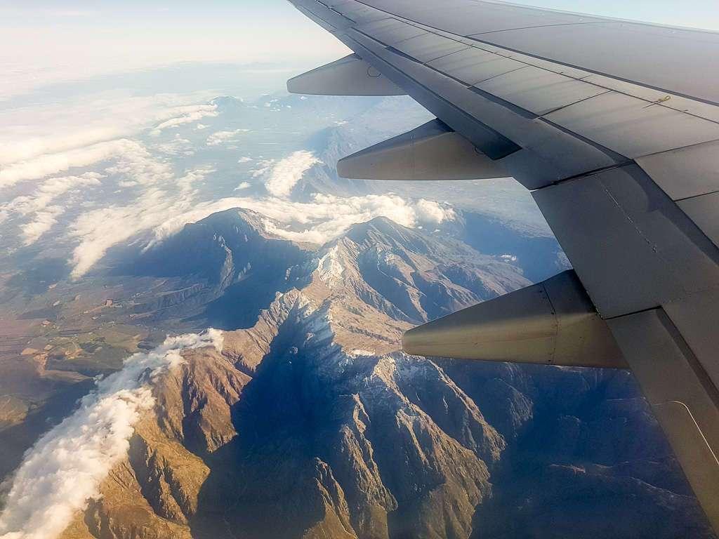 Vistas desde el avión, vuelo Ciudad del Cabo - Durban, Sudáfrica