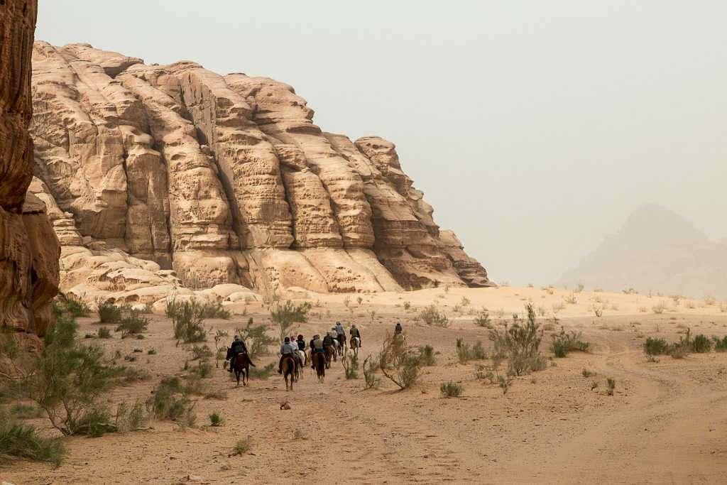 Camellos en Wadi Rum, Jordania