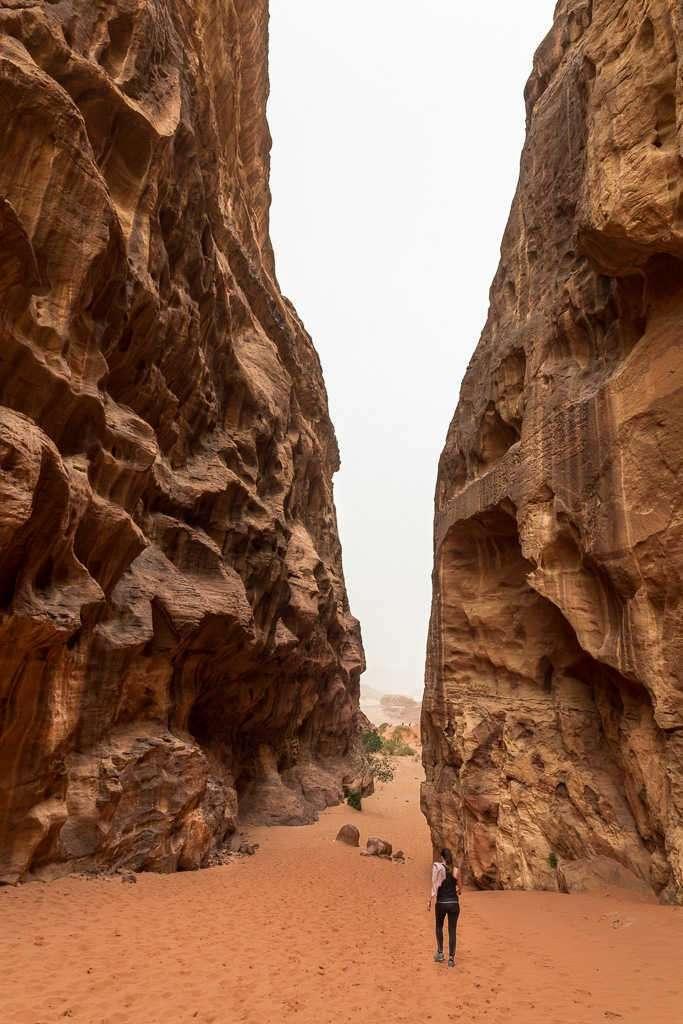 Paredes de roca del desierto rojo, Wadi Rum, Jordania