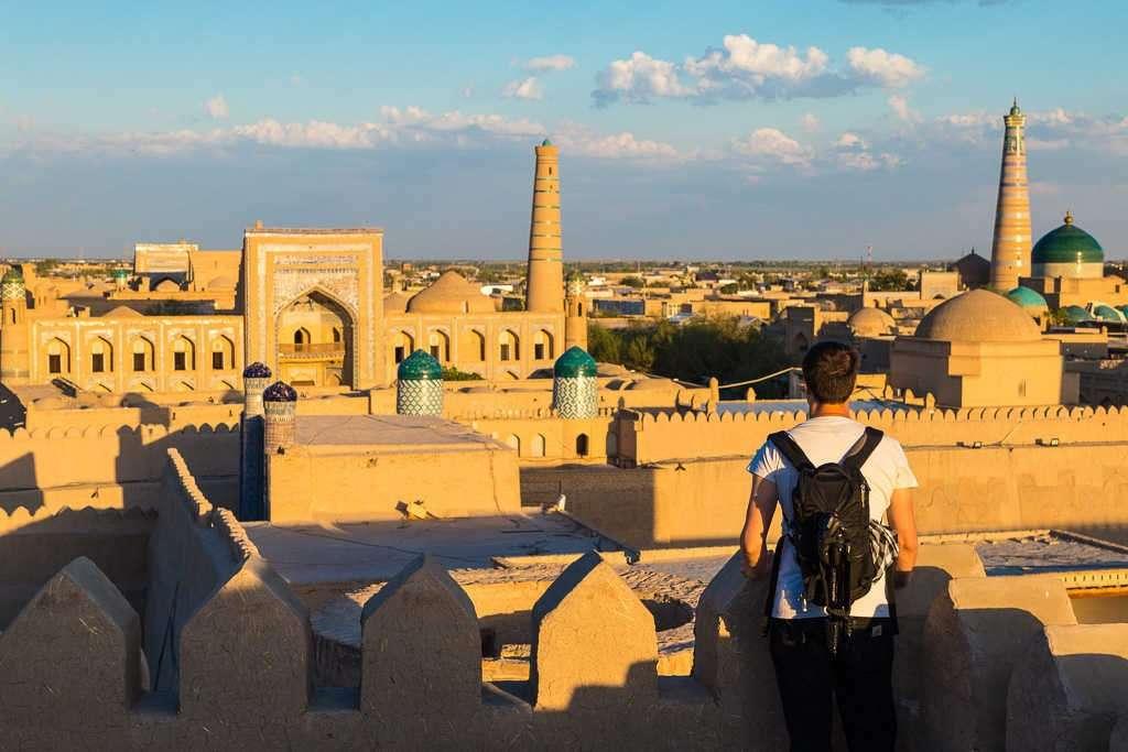 Vistas de Jiva desde las murallas, Uzbekistán