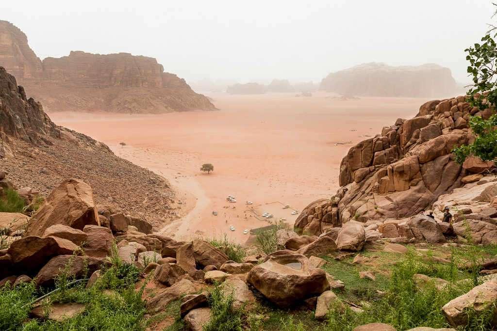 Vistas desde la fuente de Lawrence de Arabia, Wadi Rum, Jordania