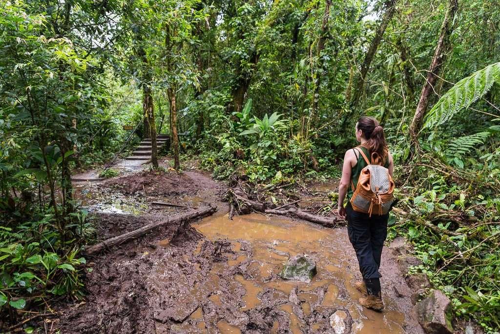 Caminos llenos de barro en el parque nacional Volcán Tenorio, Costa Rica