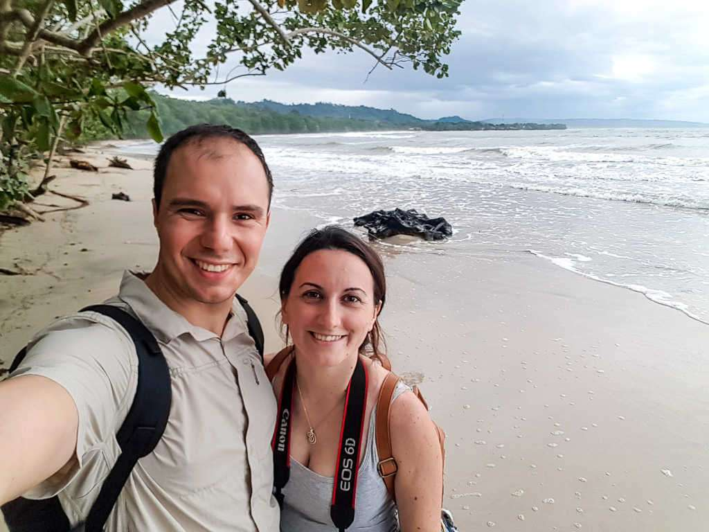 Nosotros en playa Blanca dentro del parque nacional Cahuita, Costa Rica