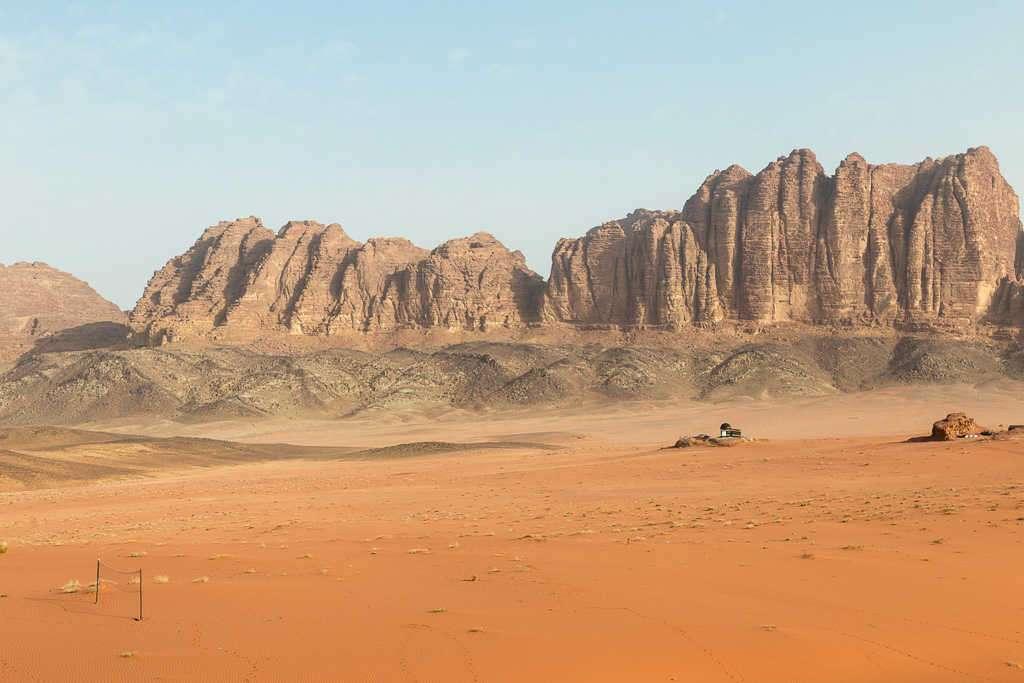 Vistas de la montañas desde el campamento de Wadi Rum, Jordania