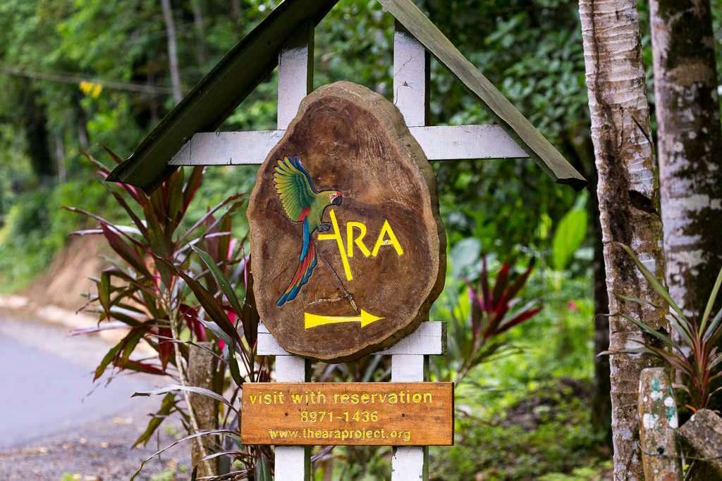 Cartel del Proyecto Ara Manzanillo, Cahuita, Costa Rica