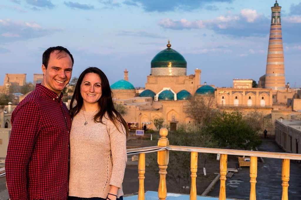 Atardecer desde la terraza del hotel Arkanchi, Jiva, Uzbekistán