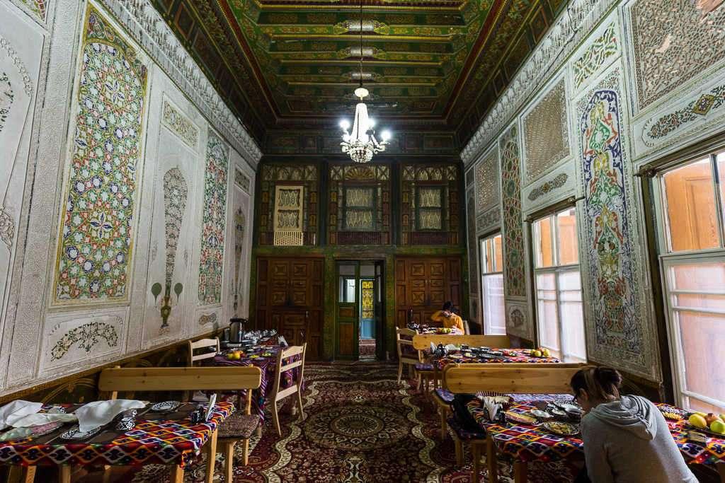 Sala de desayuno del Rabat Boutique Hotel, Samarcanda, Uzbekistán