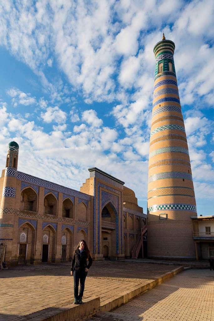 Minarete de la Madraza Islam Khodja, Jiva, Uzbekistán
